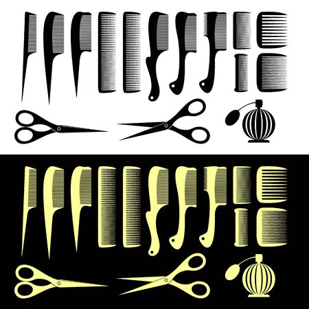 clippers comb: Set of the isolated hairbrushes and scissors. Black set on a white background. Yellow set on a black background.