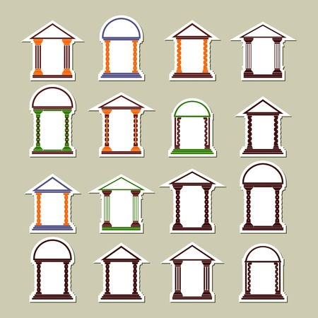 Set of different arches. Stickers on a light background. Vector