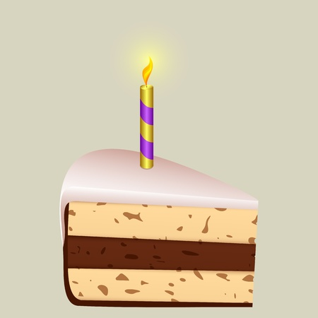 Piece of birthday cake on a light background. At the top of the cake a burning candle. Vector