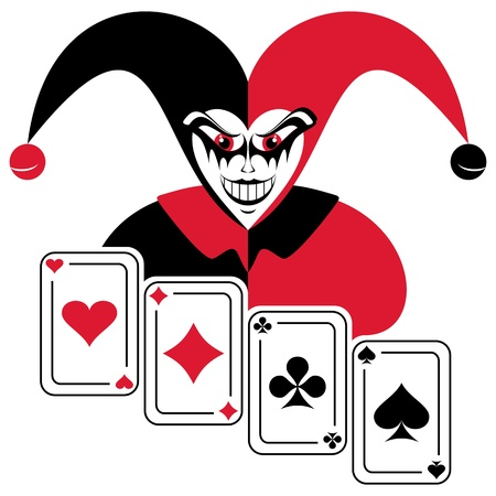 harlekijn: Joker en vier speelkaarten. Abstracte compositie op een witte achtergrond.