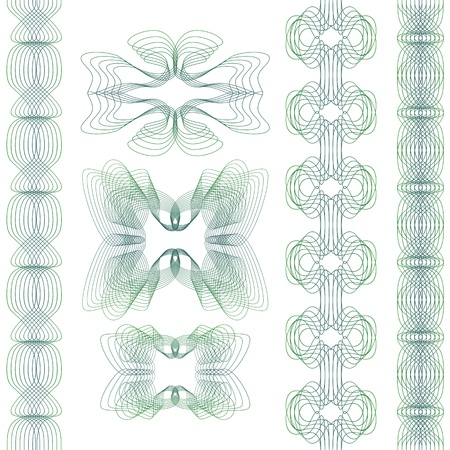 guilloche pattern: Set of decorative guilloche elements on a white background.