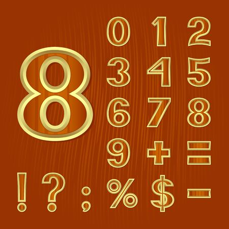 package printing: The mathematical symbols and punctuation marks on a brown background. The background imitates a wooden surface. EPS-8. Illustration