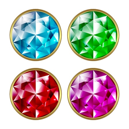 Set of precious stones on a white background. Stones different colors in a gold frame. Ilustração