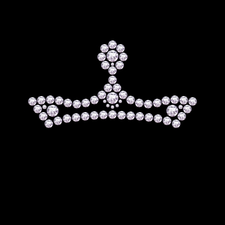 ruby stone: Diamond crown on a black background.