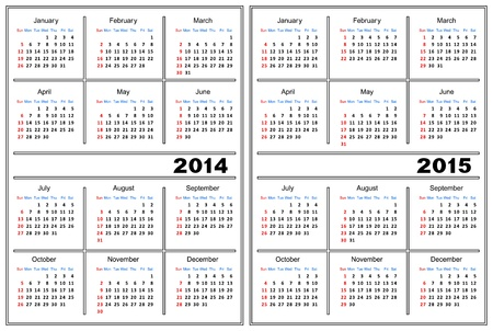 breadboard: Template of a calendar of white color  A calendar for 2014 and 2015