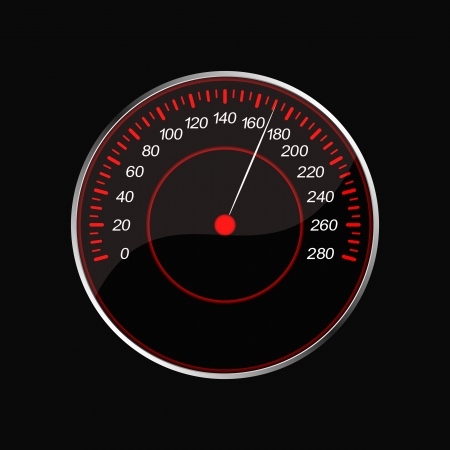 Speedometer on a black background  Red scale