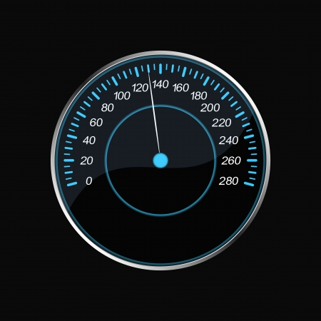 Speedometer on a black background  Blue scale  Stock Vector - 21385554