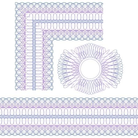 白い背景の上の角、境界線とロゼットのギョーシェ要素  イラスト・ベクター素材
