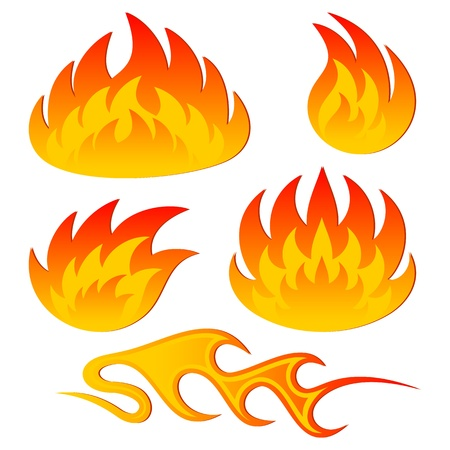 combustion: Set of an abstract flame on a white background