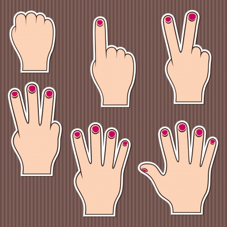 five objects: Fingers show numbers  Set of stickers on a brown striped background  Illustration