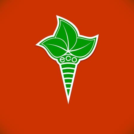 cliche: S�mbolo ecol�gico sobre un fondo naranja La antorcha estilizada con hojas