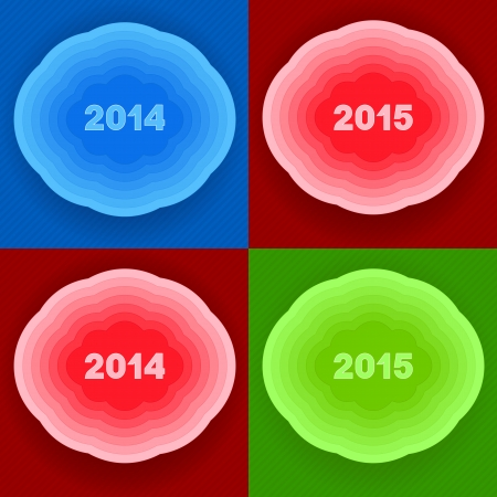 Inscriptions designating New year  Composition on clouds of different color  Vector