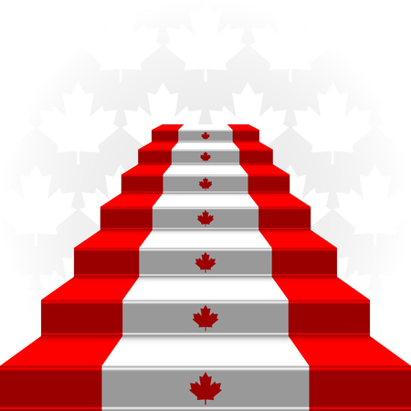 The stylized ladder on a light background  Flag of Canada