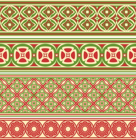 cliche: Fronteras sin costuras decorativas Conjunto de cuatro adornos de diferentes Vectores