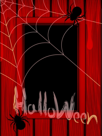 Illustration by a holiday the Halloween  Frame, spiderweb and spiders on a red background  Illustration