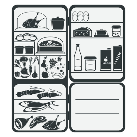 foodstuff: The refrigerator with food on a white. The composition is executed in two colors  Illustration