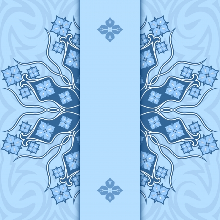 variant: Card with ornament  Variant of blue color  Illustration