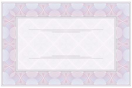 Empty blank of the voucher or certificate  Ilustração