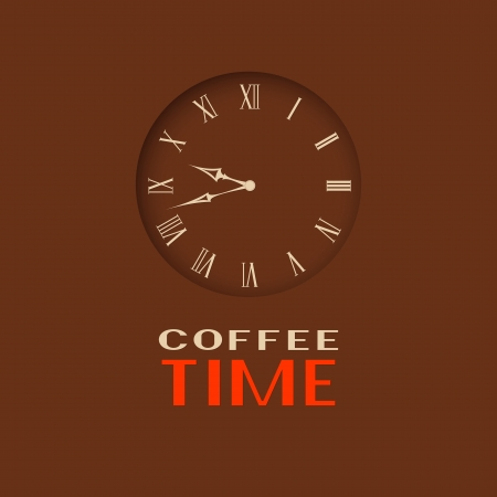 clockwise: Coffee time  Clock on a brown background