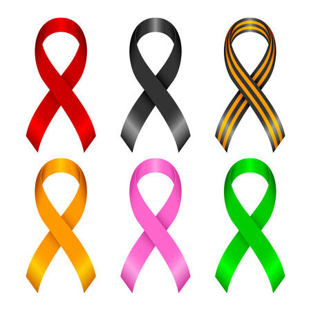 awareness: Collection of awareness ribbons  Ribbons of different color on a white background