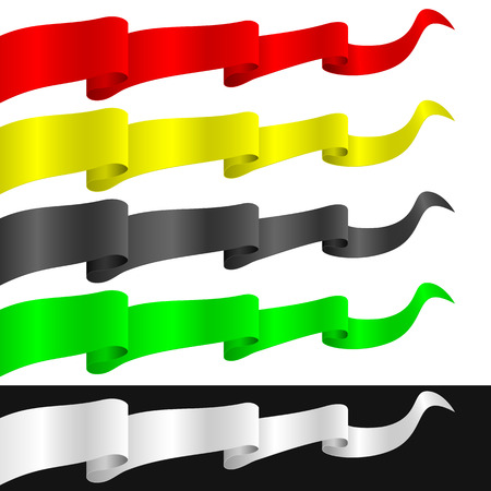 pennants: Fluttering ribbons of different colors  Isolated objects on a white and black background