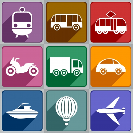 row: Set of transport icons of different color  Illustration