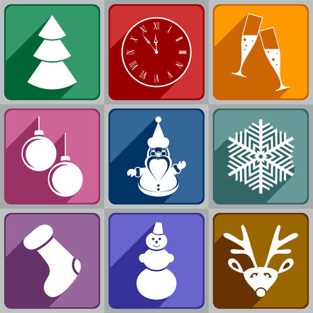 Set of New Year s icons of different color  Vector