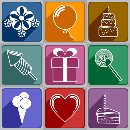 Set of icons to Birthday of different color  Vector