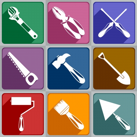trowel: Set of working tools icons of different color  Illustration