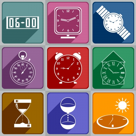 Set of different watch icons  Icons of different colors  Vector