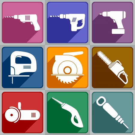 jig saw: Set of of electric tools Icons of different color  Illustration
