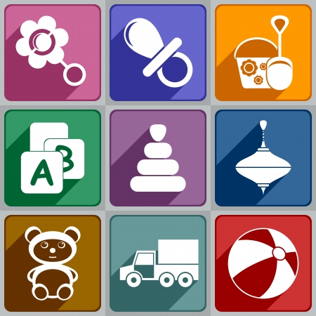 Set of icons toys of different color  Vector