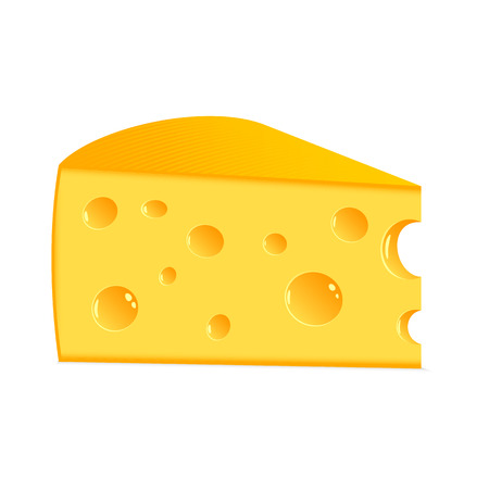 Piece of tasty cheese on a white background  Ilustração