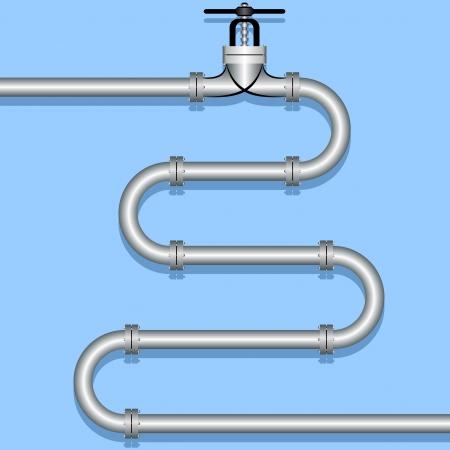 pipeline en acier sur un fond bleu