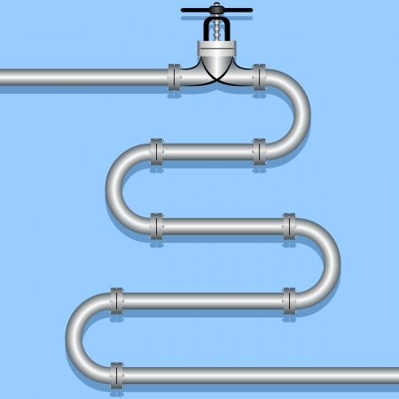 closing: Steel pipeline on a blue background  Illustration