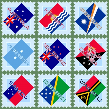 oceania: Flags of Australia and the countries of Oceania on blue stamps  Illustration
