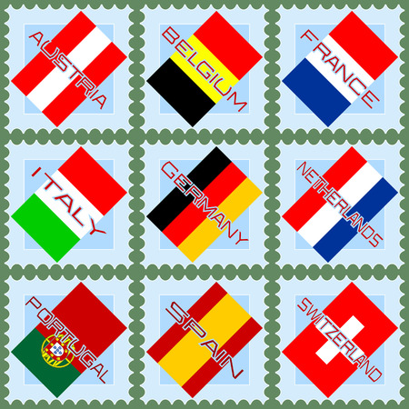 Flags of countries of Western Europe on blue stamps  Vector