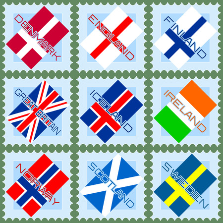 Flags of the European countries on blue stamps  Vector