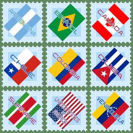 bandera argentina: Banderas de los países de América del Sur y del Norte en los sellos azules
