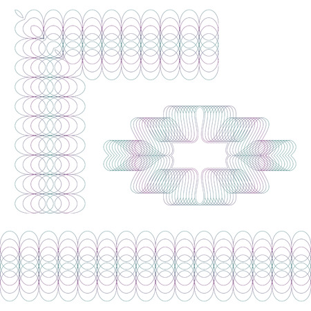 Set of three guilloche elements