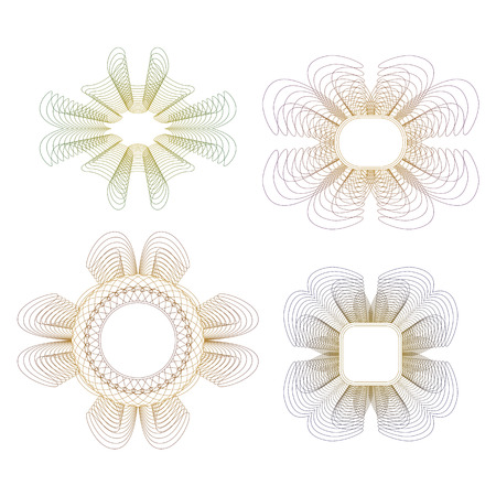 Collection of guilloche rosettes on a white background  Vector