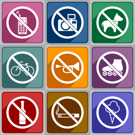 interdiction: Multicolored icons of prohibition signs  Illustration