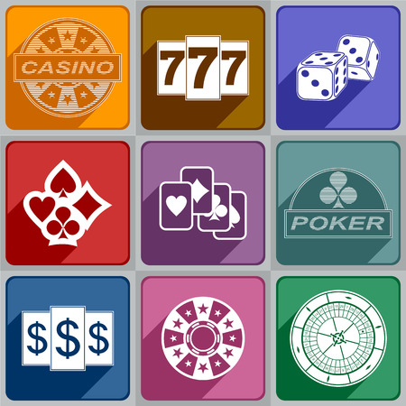 Multicolored icons relating to a casino  Illustration