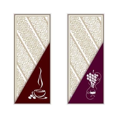 cliche: Plantilla del men� del caf� y el vino