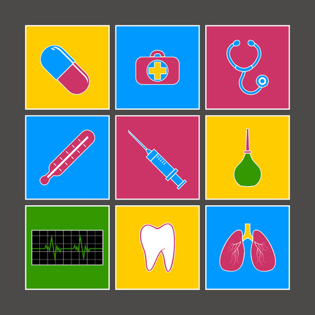 designation: Multicolored medical icons  Set against a dark background