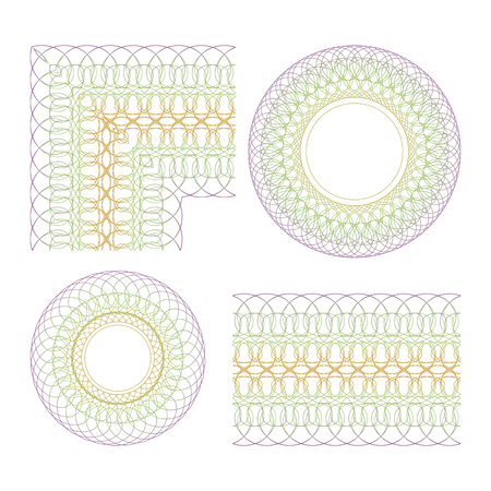 Set of decorative elements  Isolated guilloche objects on a white background