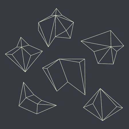 multifaceted: Contours of geometrical figures  Set against a dark background  Illustration