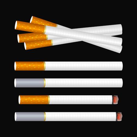 pernicious: Varios cigarrillos en el fondo negro Vectores