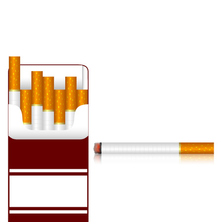 cigarette pack: Pack of cigarettes and one cigarette on a white background  EPS-10  Mesh gradient and transparency is used  Illustration