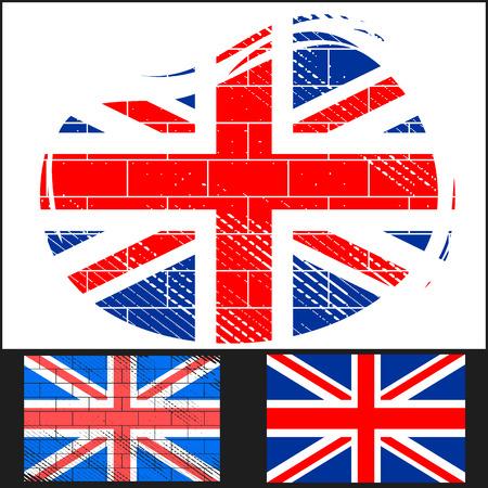 bandera inglesa: Establezca la bandera rayada de Gran Bretaña en el fondo blanco y negro Vectores